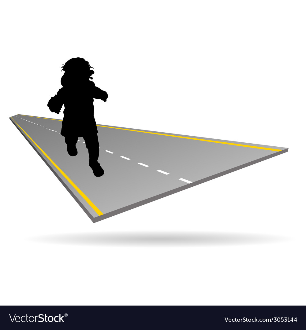 Baby on the road vector | Price: 1 Credit (USD $1)