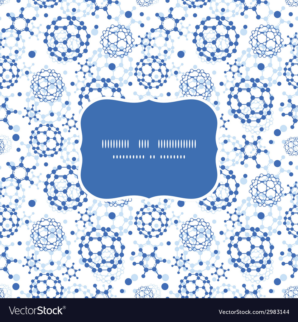 Blue molecules texture frame seamless pattern vector | Price: 1 Credit (USD $1)