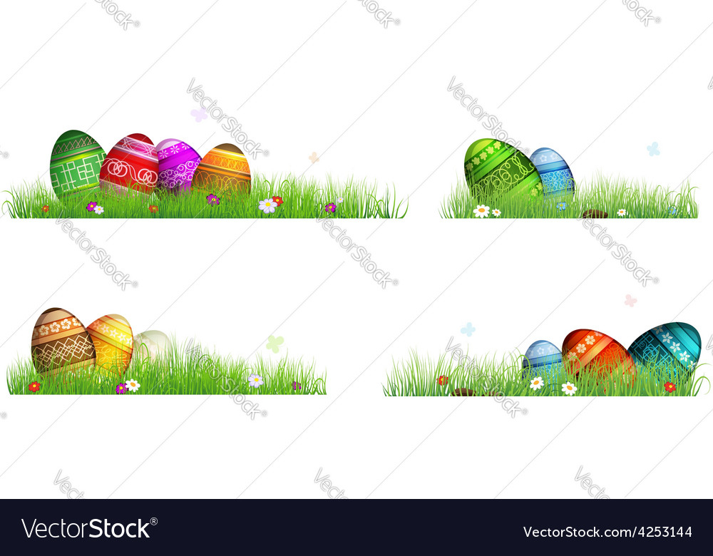 Easter eggs with spring flowers in the grass vector | Price: 3 Credit (USD $3)