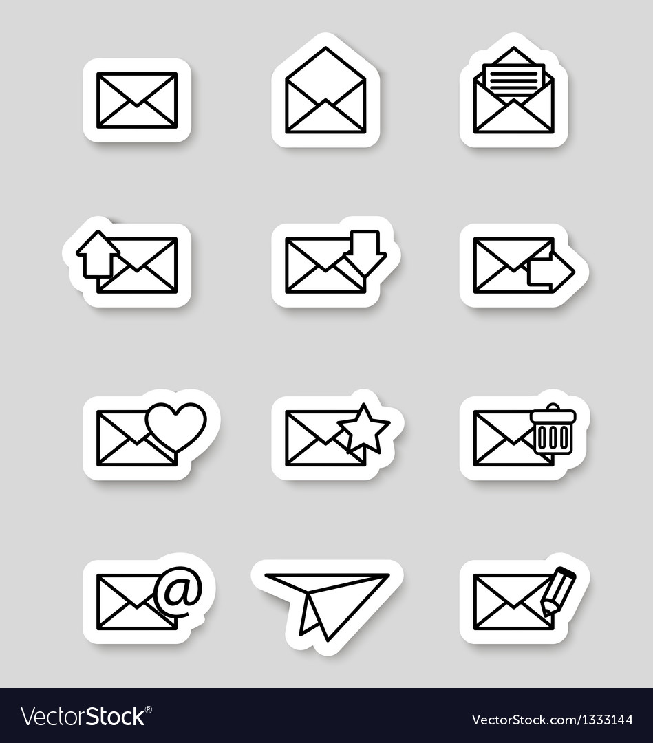 Envelope icons on stikers vector | Price: 1 Credit (USD $1)