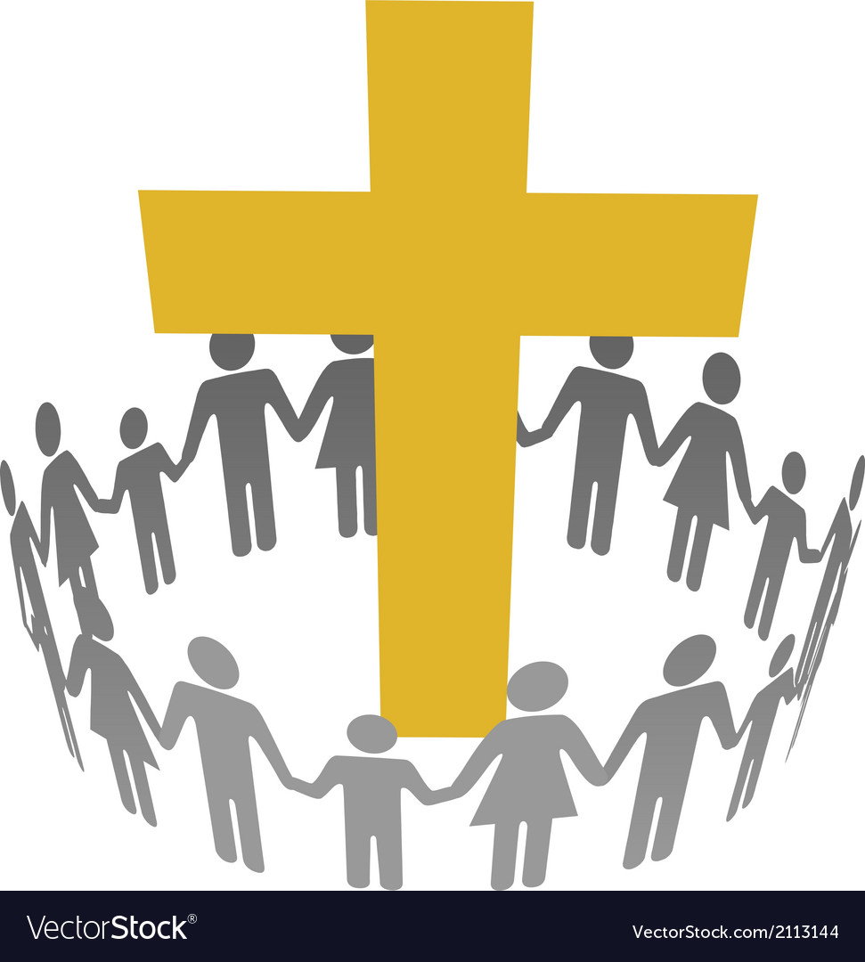 Family circle christian community cross vector | Price: 1 Credit (USD $1)