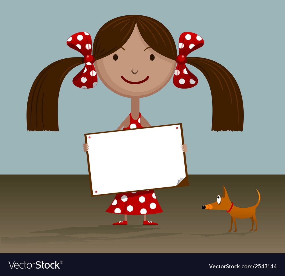 Girl with blank sign vector | Price: 1 Credit (USD $1)
