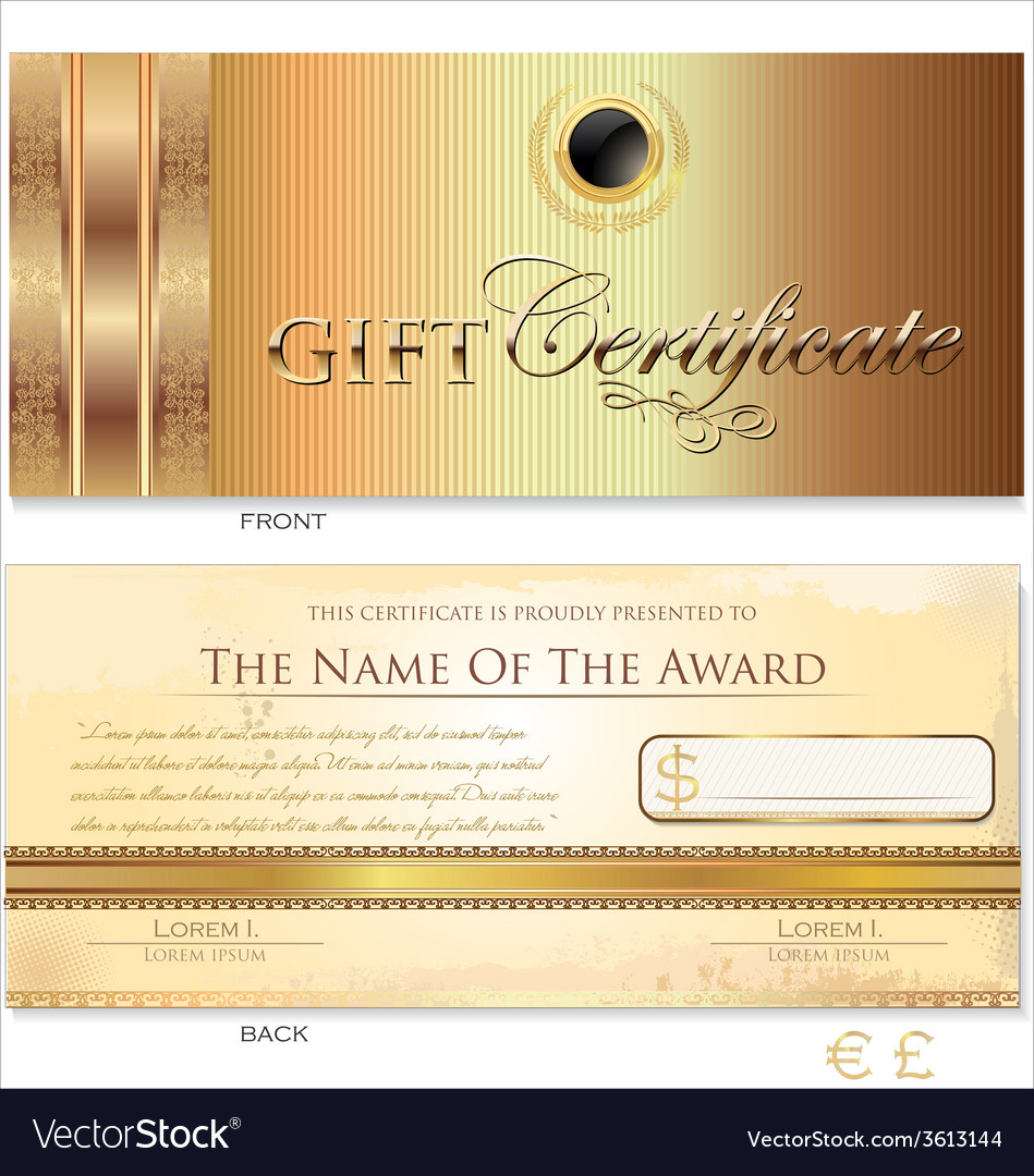 Gold gift certificate template vector | Price: 1 Credit (USD $1)