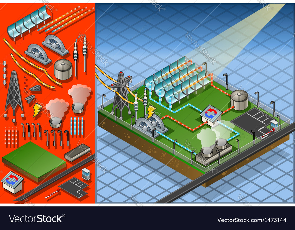 Isometric termo solar plant in production of vector | Price: 1 Credit (USD $1)