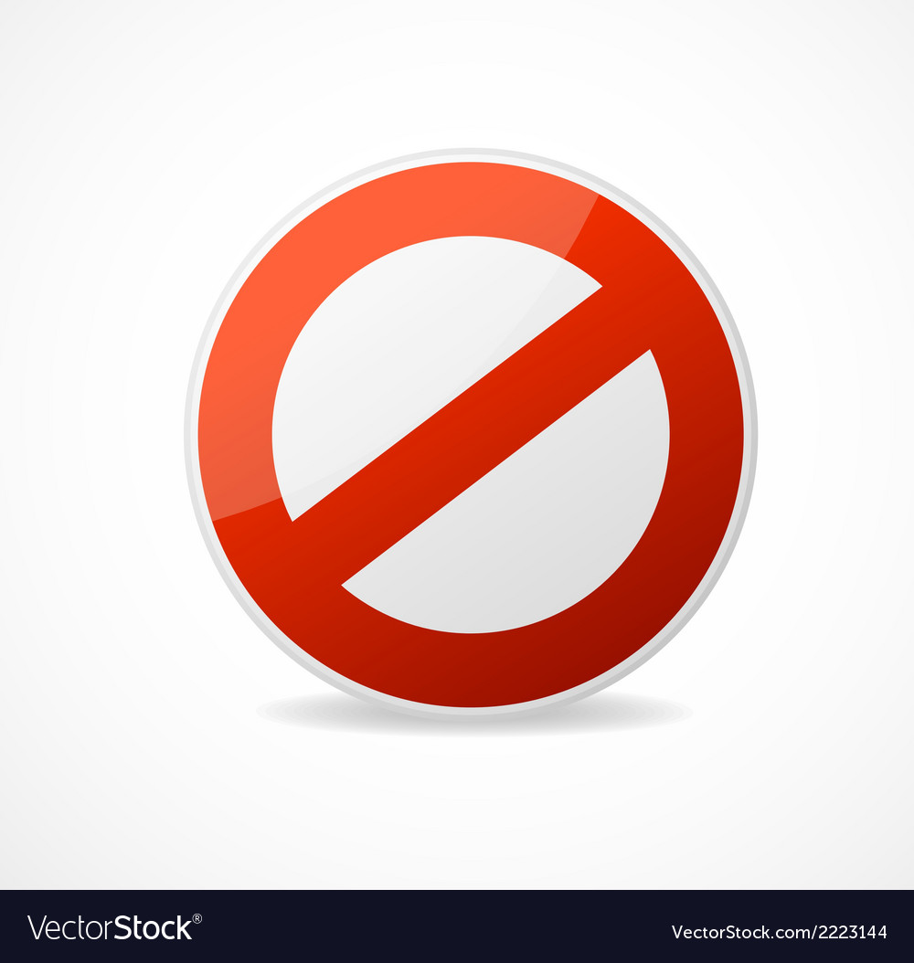 No sign red isolated on white vector | Price: 1 Credit (USD $1)