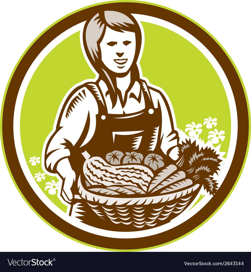 Organic female farmer farm produce harvest woodcut vector | Price: 1 Credit (USD $1)
