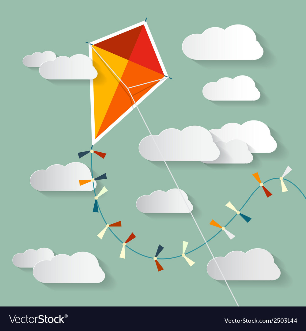Paper kite on sky with clouds vector | Price: 1 Credit (USD $1)