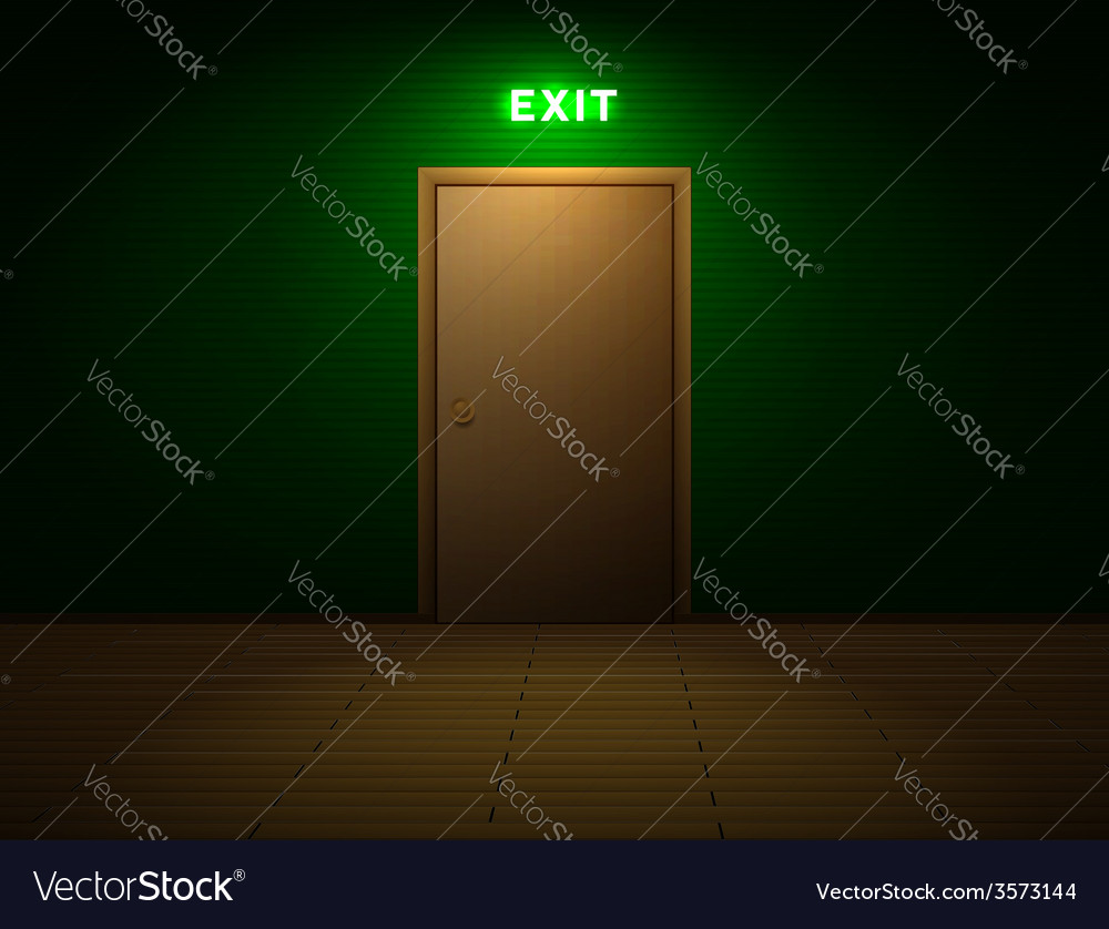 Room with exit sign vector | Price: 1 Credit (USD $1)