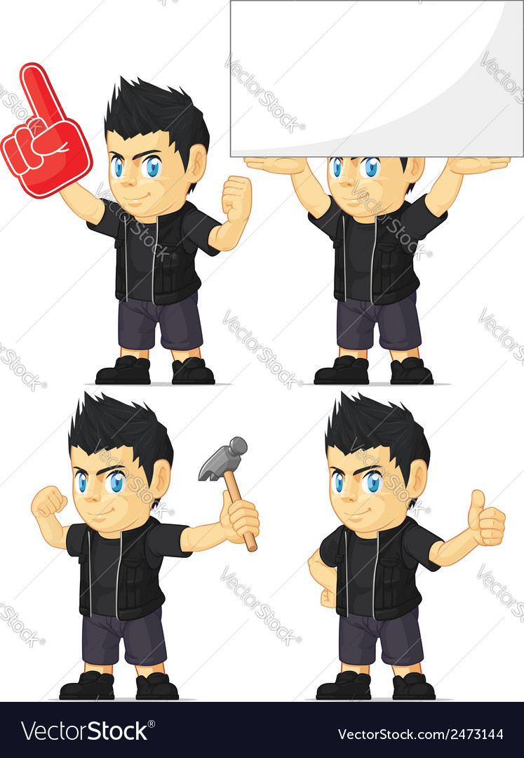 Spiky rocker boy customizable mascot 13 vector | Price: 1 Credit (USD $1)