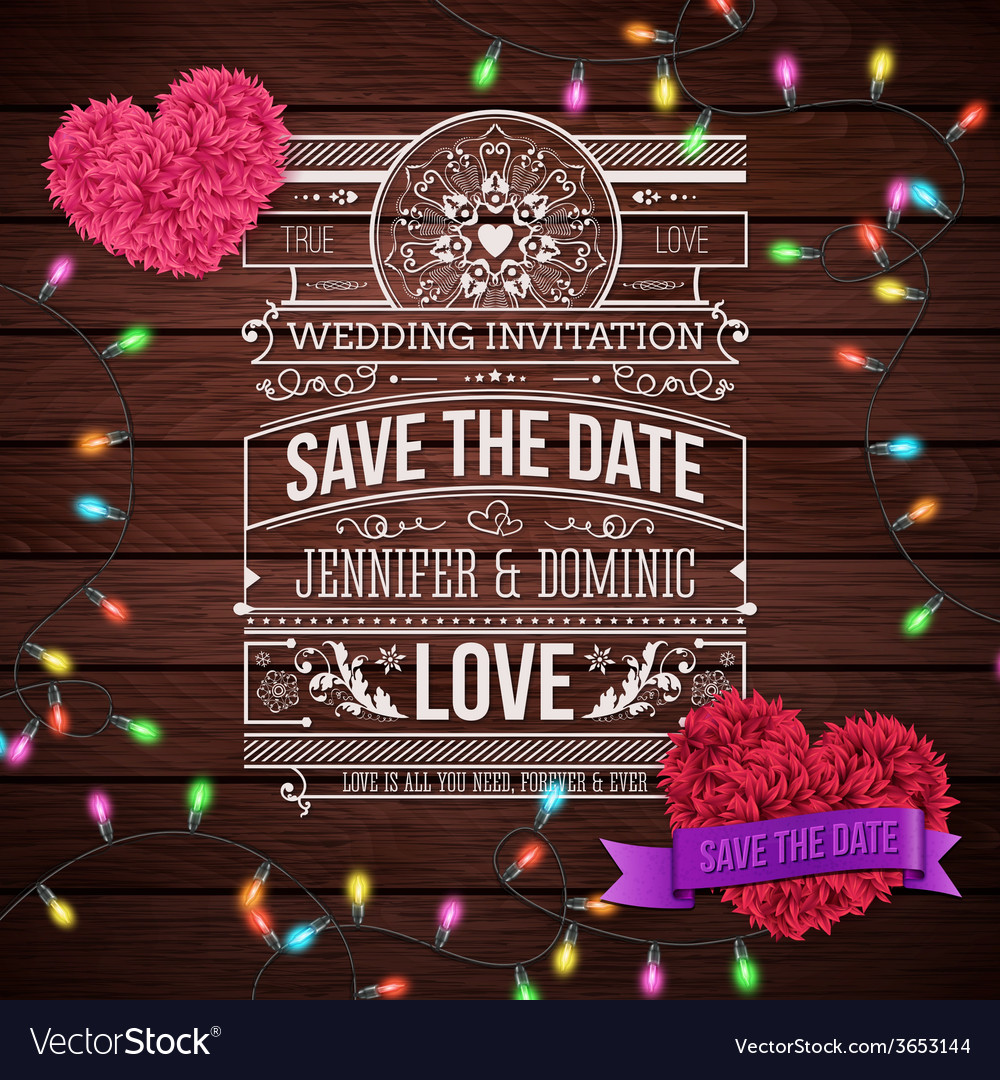 Wedding invitation design on wooden background vector | Price: 1 Credit (USD $1)
