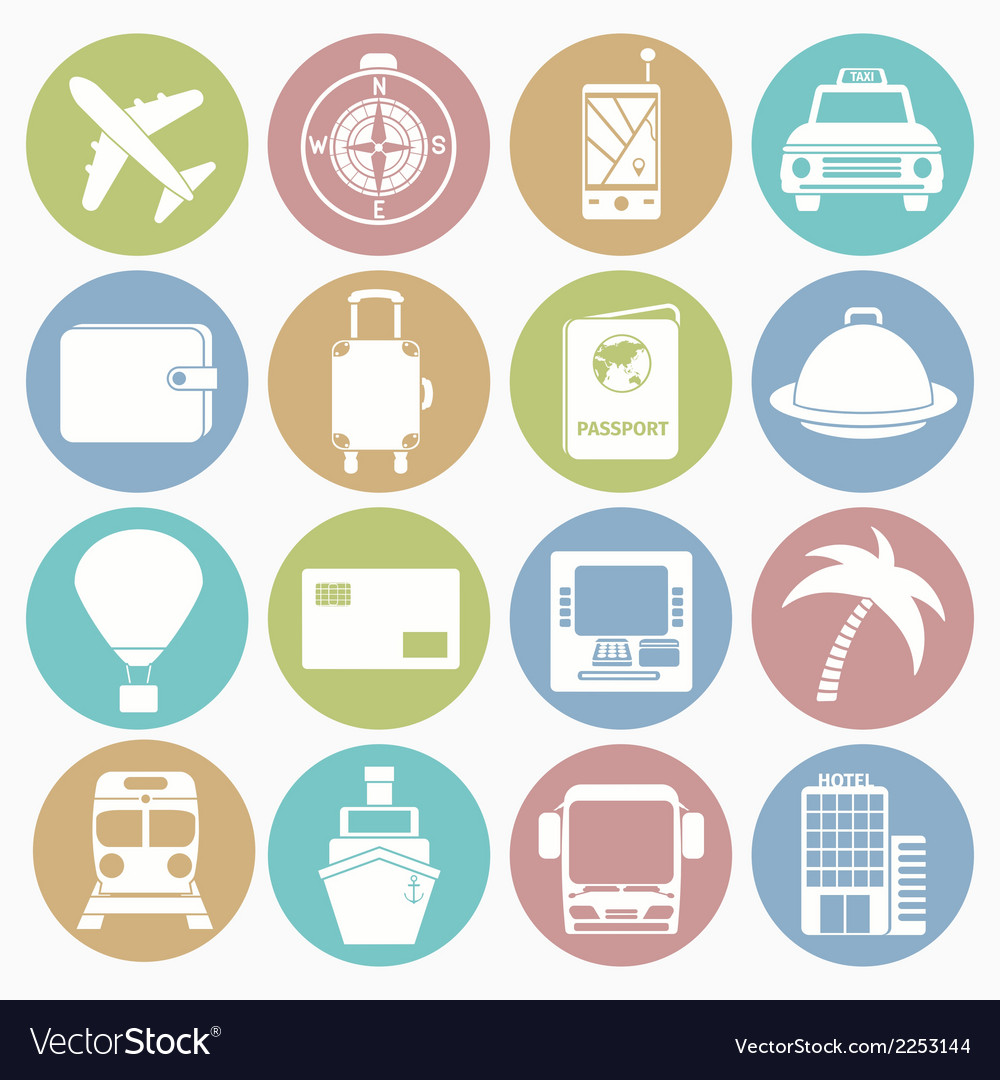 White icons travel vector | Price: 1 Credit (USD $1)