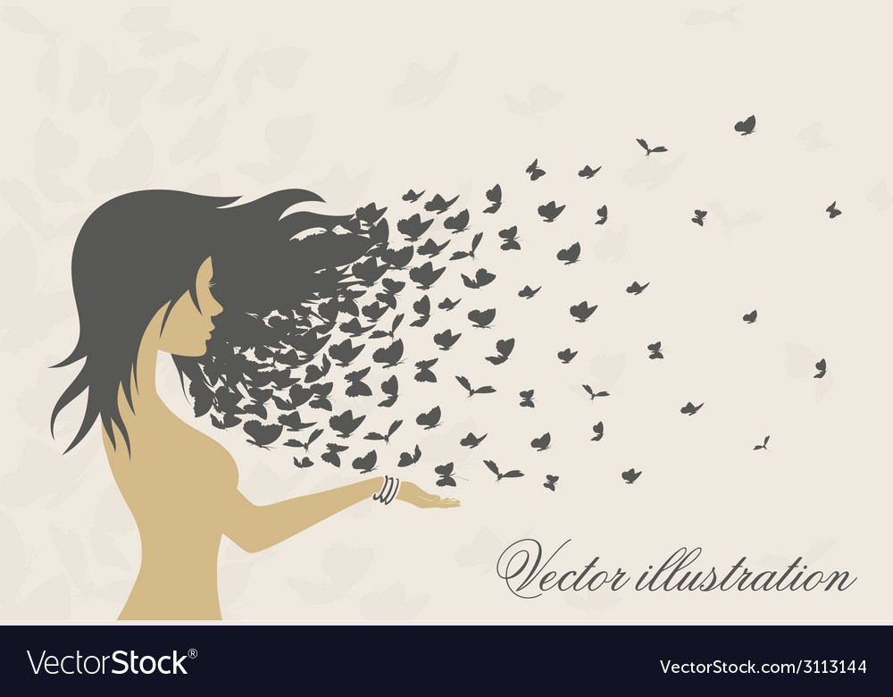 Womens hairstyles and hair with butterflies vector | Price: 1 Credit (USD $1)