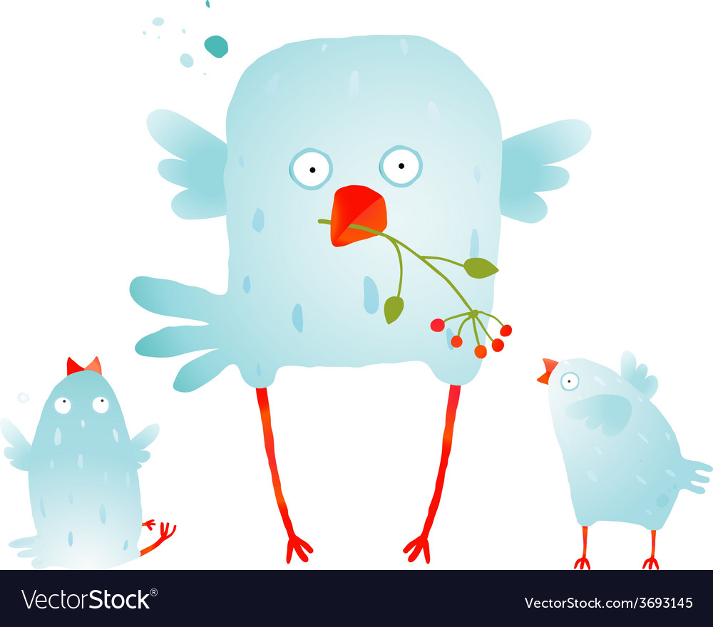 Cartoon fun and cute mother bird with her babies vector   Price: 1 Credit (USD $1)