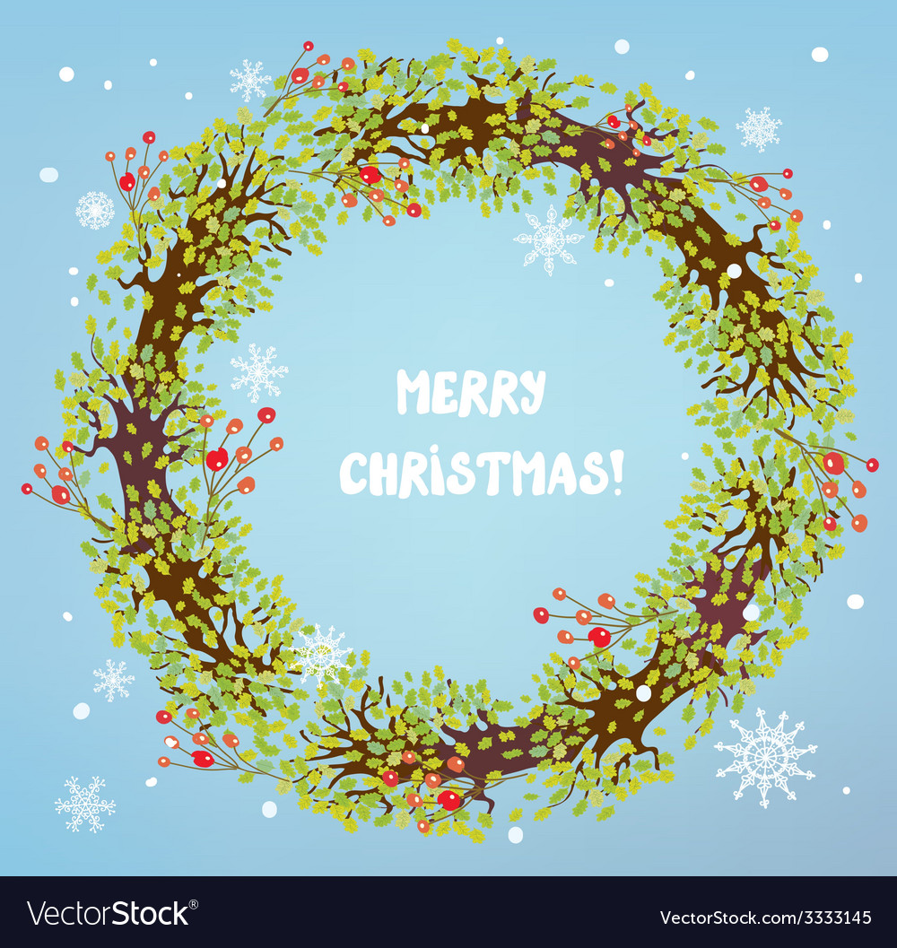 Christmas wreath with berries and snow vector | Price: 1 Credit (USD $1)