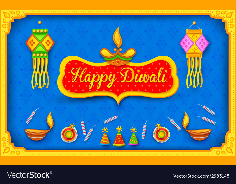 Diwali background with colorful firecracker vector | Price: 1 Credit (USD $1)