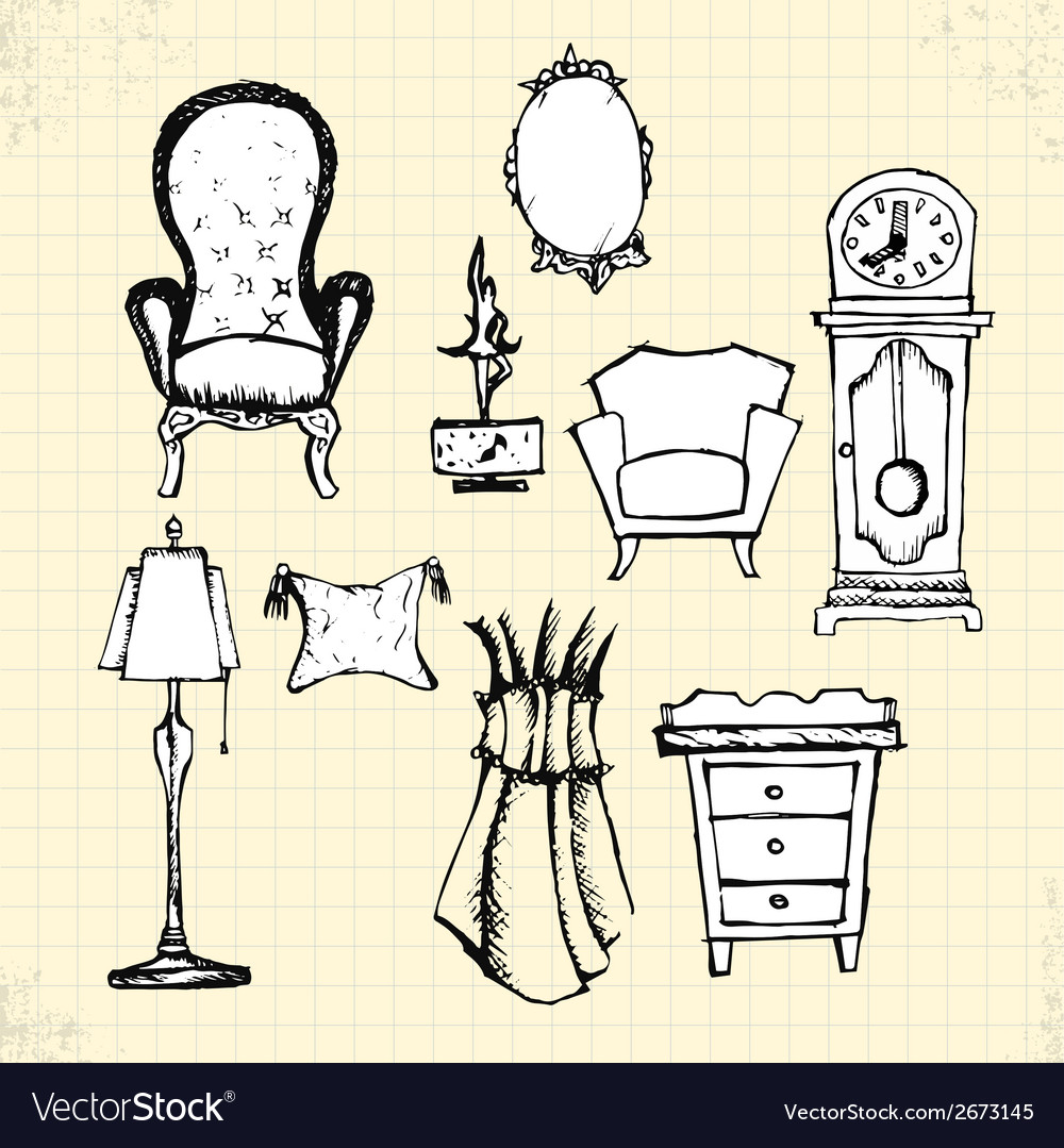 Doodle furniture on paper vector | Price: 1 Credit (USD $1)