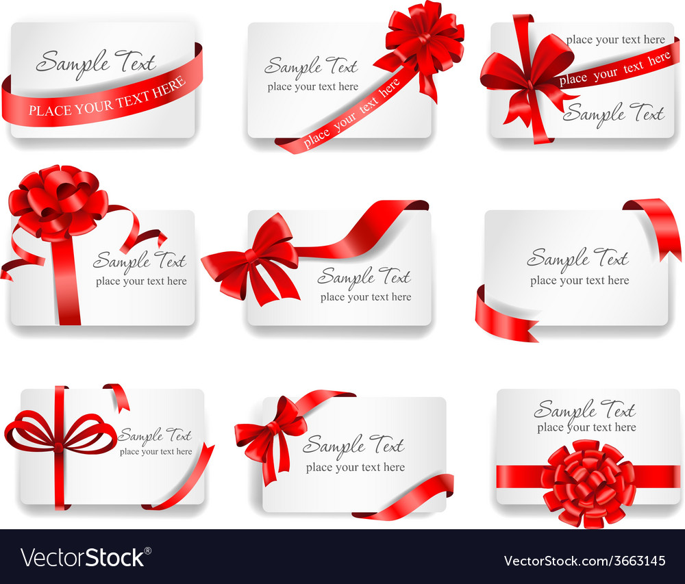 Festive cards with red gift ribbons vector | Price: 1 Credit (USD $1)