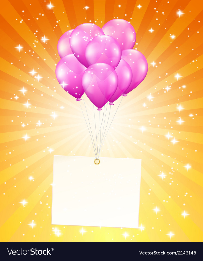 Flying balloons with card vector | Price: 1 Credit (USD $1)