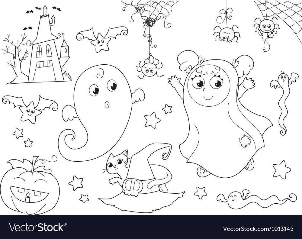 Halloween coloring set for little kids vector | Price: 1 Credit (USD $1)