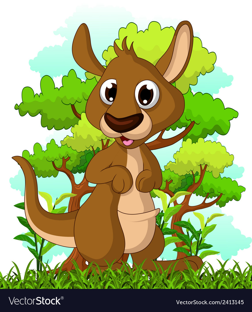 Kangaroo cartoon with forest background vector | Price: 1 Credit (USD $1)