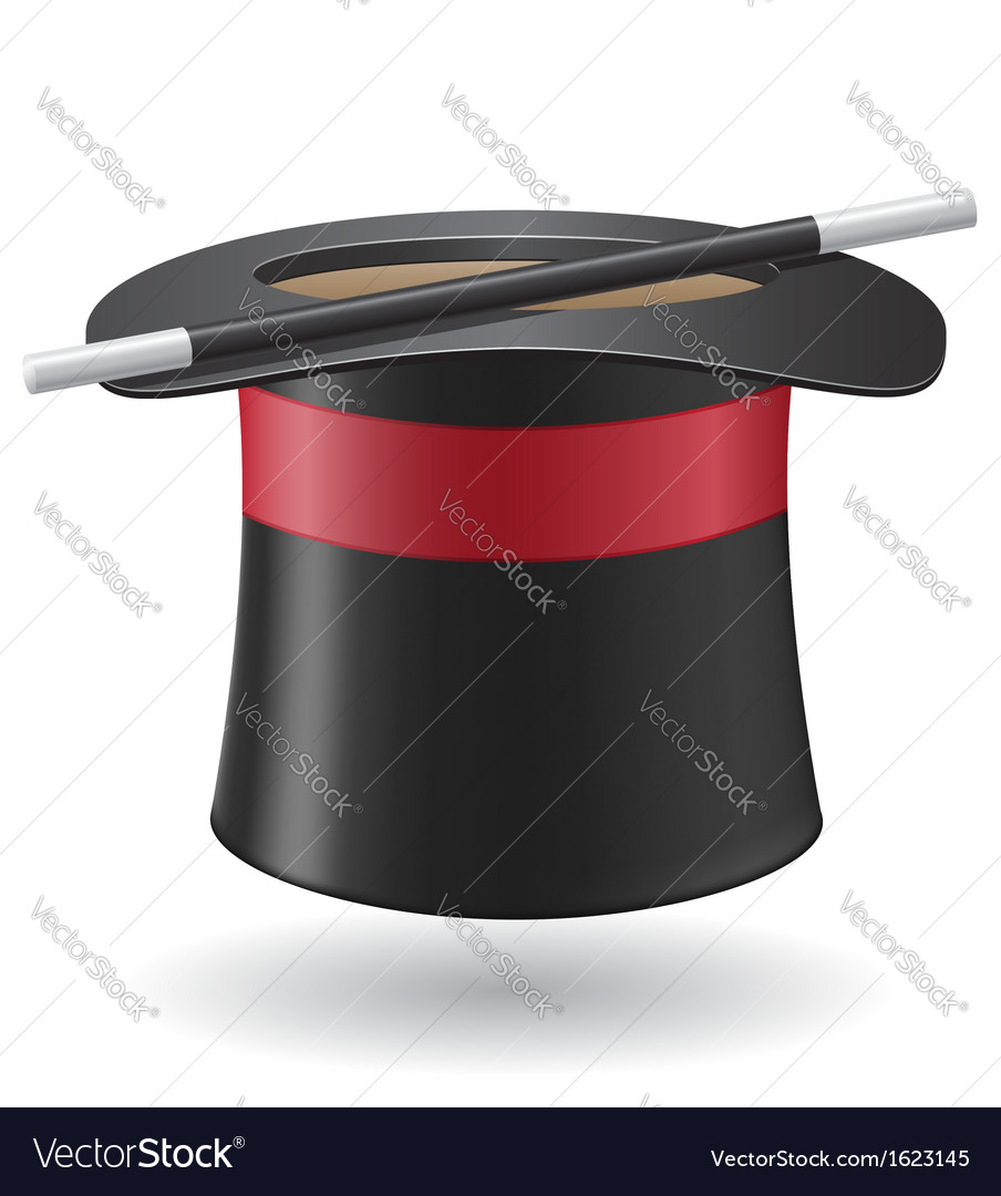 Magic wand and cylinder hat 01 vector | Price: 1 Credit (USD $1)
