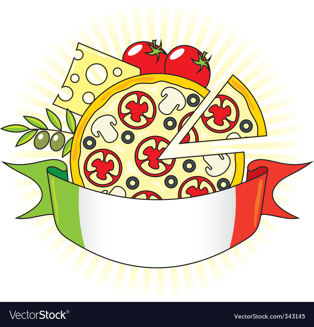 Pizza and italian flag vector | Price: 1 Credit (USD $1)