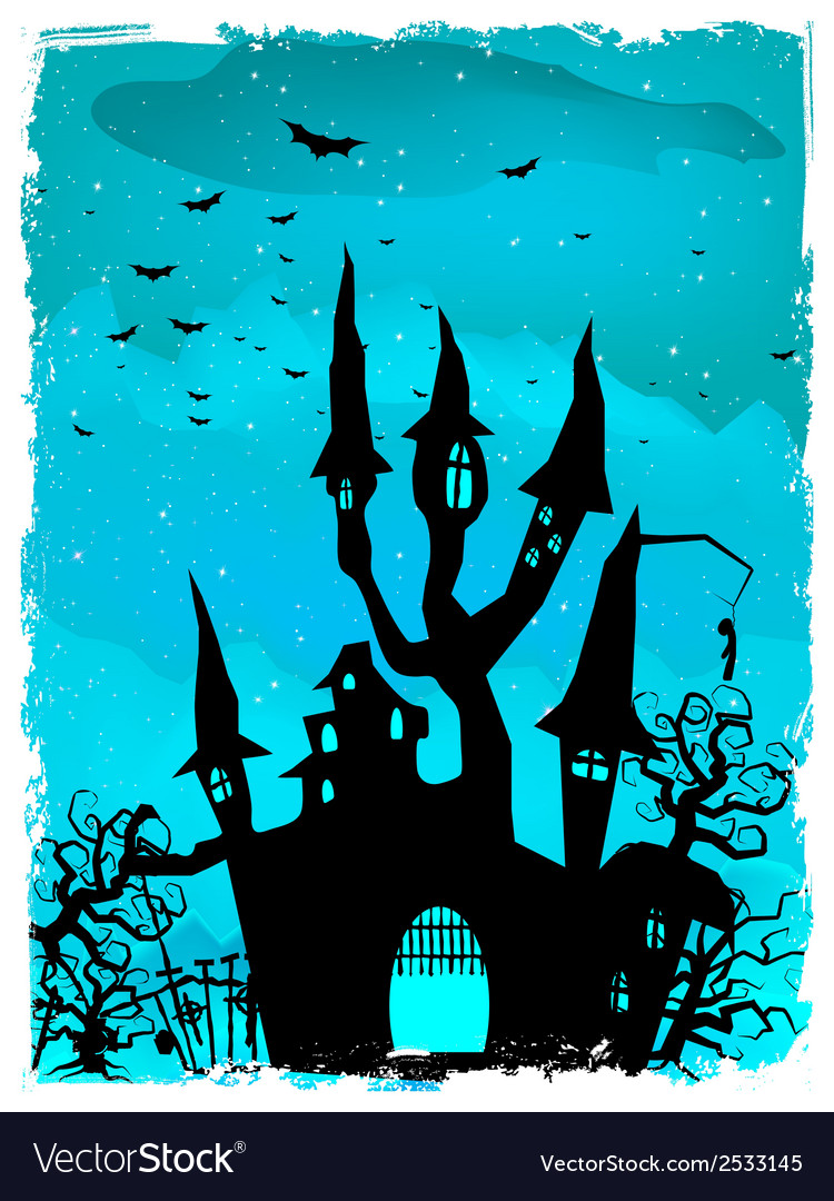 Scary halloween castle with copy space eps 10 vector | Price: 1 Credit (USD $1)