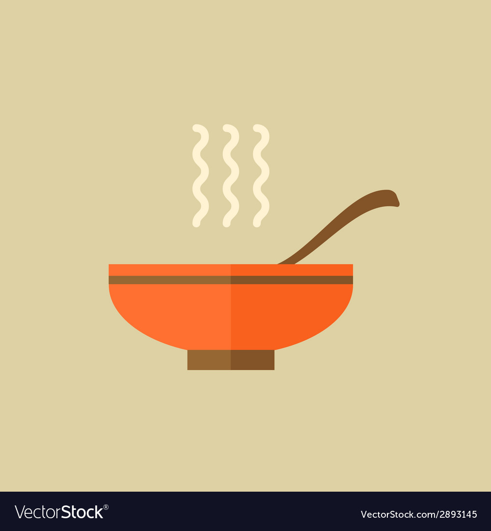 Soup food flat icon vector | Price: 1 Credit (USD $1)
