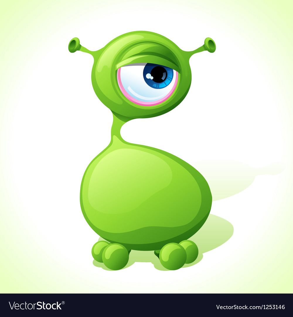 Cute green monster isolated on white background vector   Price: 1 Credit (USD $1)