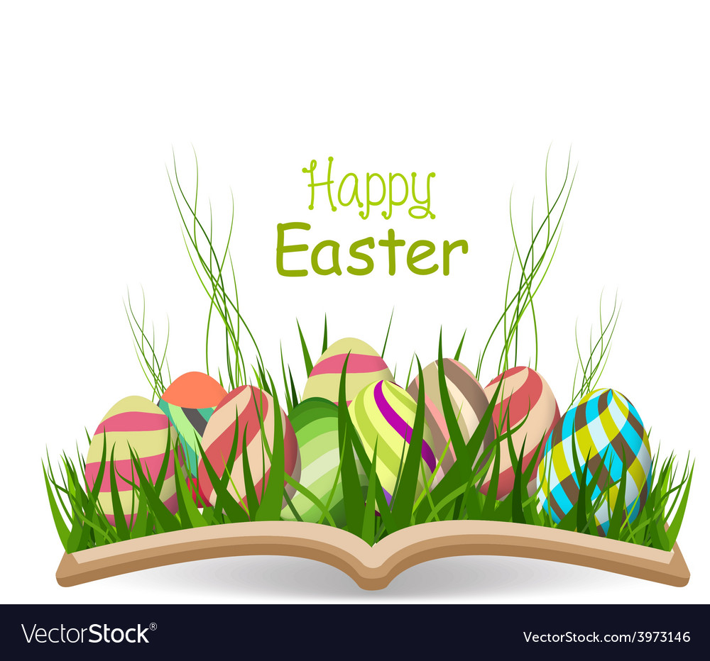 Happy easter egg spring with grass in the book vector | Price: 1 Credit (USD $1)