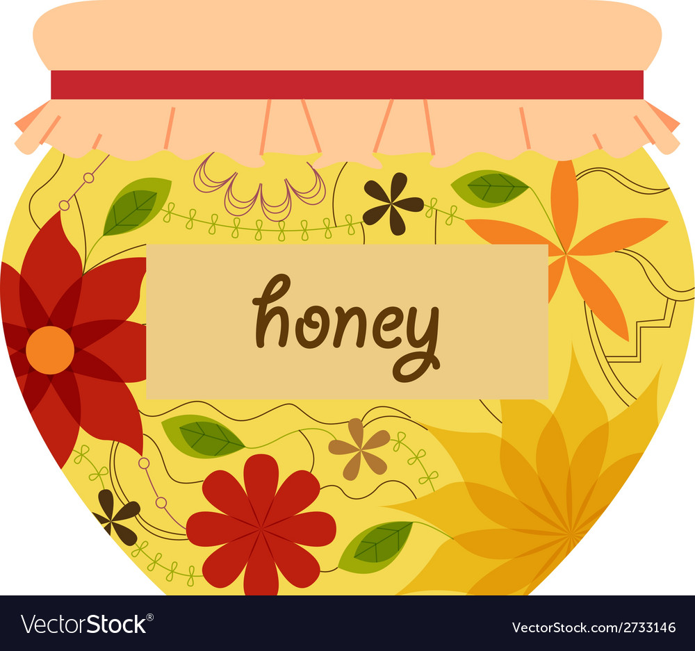 Honey jar retro vector | Price: 1 Credit (USD $1)