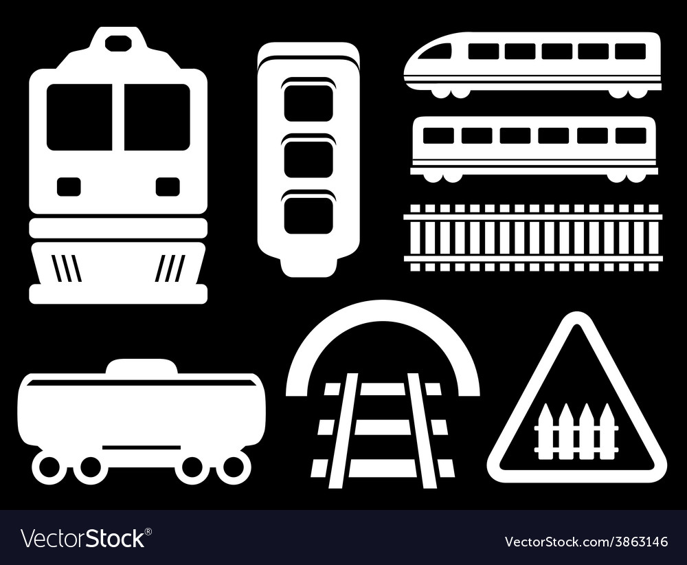 Isolated railway white objects set vector | Price: 1 Credit (USD $1)