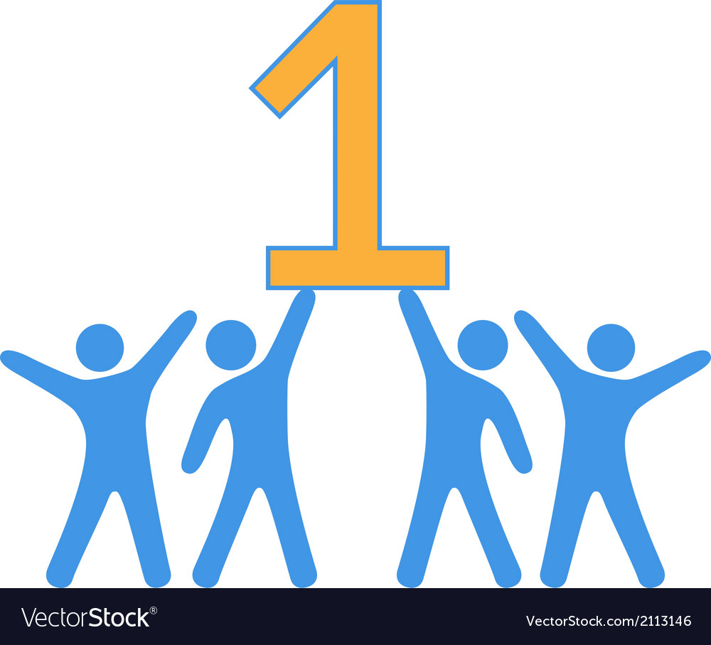 Number 1 team people celebrate big win vector | Price: 1 Credit (USD $1)