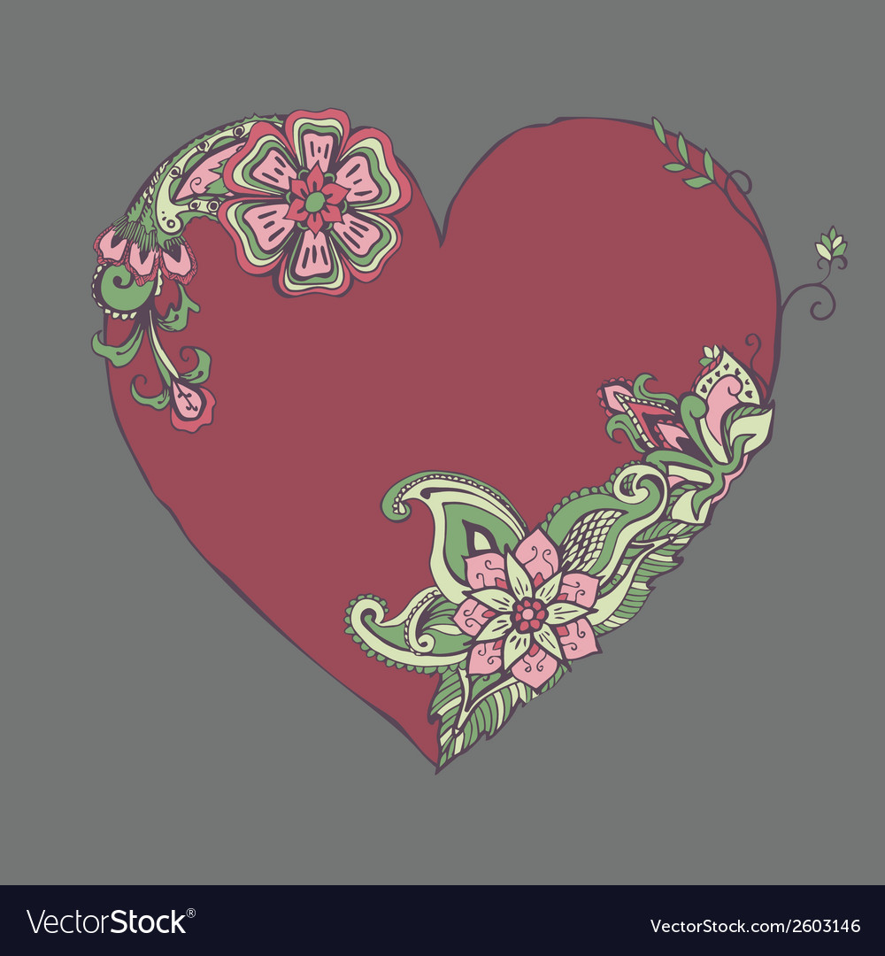 Red heart with fancy floral ornament vector | Price: 1 Credit (USD $1)