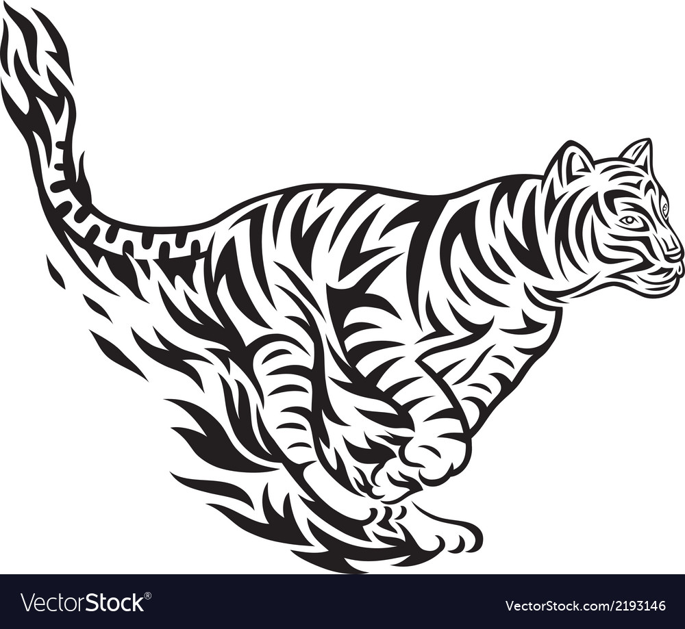 Tiger jumping tribal vector | Price: 1 Credit (USD $1)