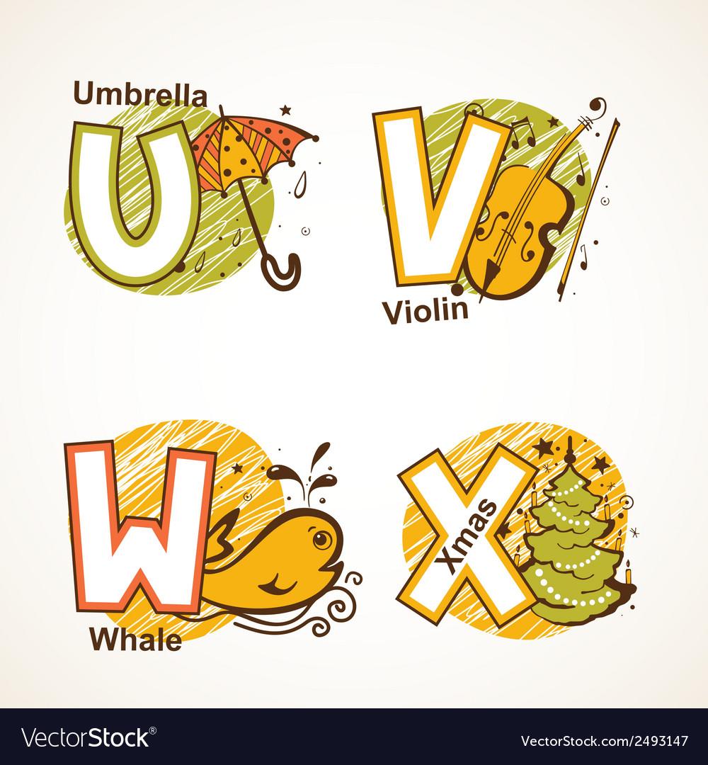 Alphabet set from u to x vector | Price: 1 Credit (USD $1)