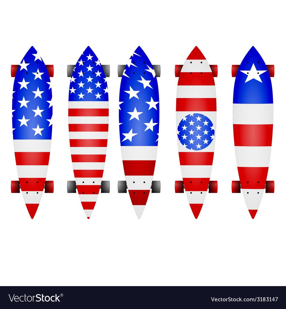 American flag longboards vector | Price: 1 Credit (USD $1)