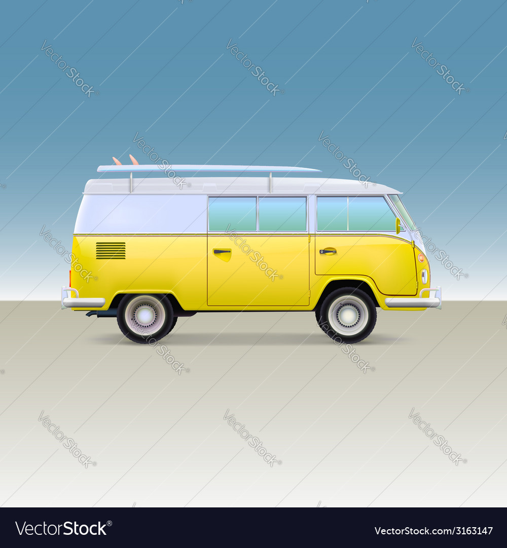 Classic yellow minivan with surfboard vintage bus vector | Price: 1 Credit (USD $1)