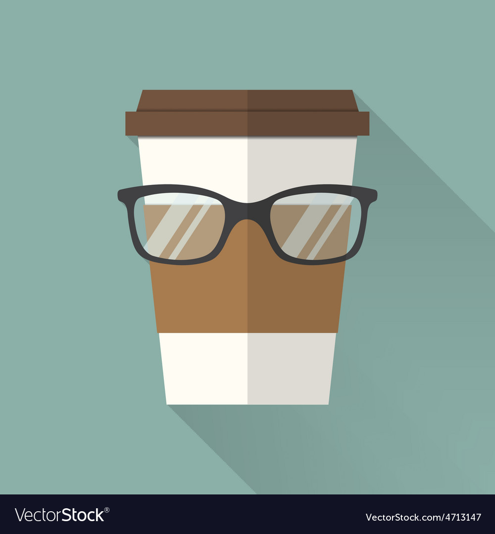 Coffee cup icon with glasses vector | Price: 1 Credit (USD $1)