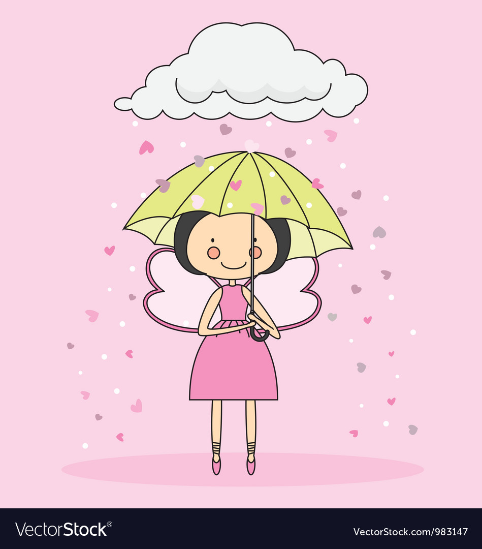 Fairy with an umbrella vector | Price: 1 Credit (USD $1)