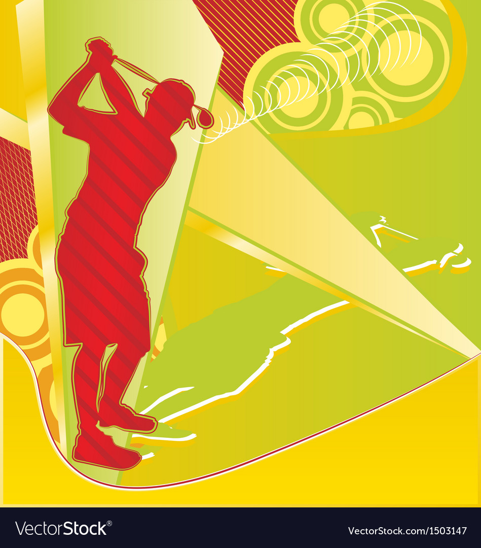 Golf player silhouette on the abstract background vector | Price: 1 Credit (USD $1)