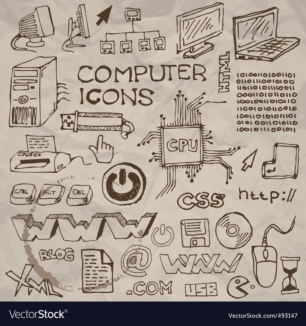 Hand- drawn computer icons vector | Price: 1 Credit (USD $1)