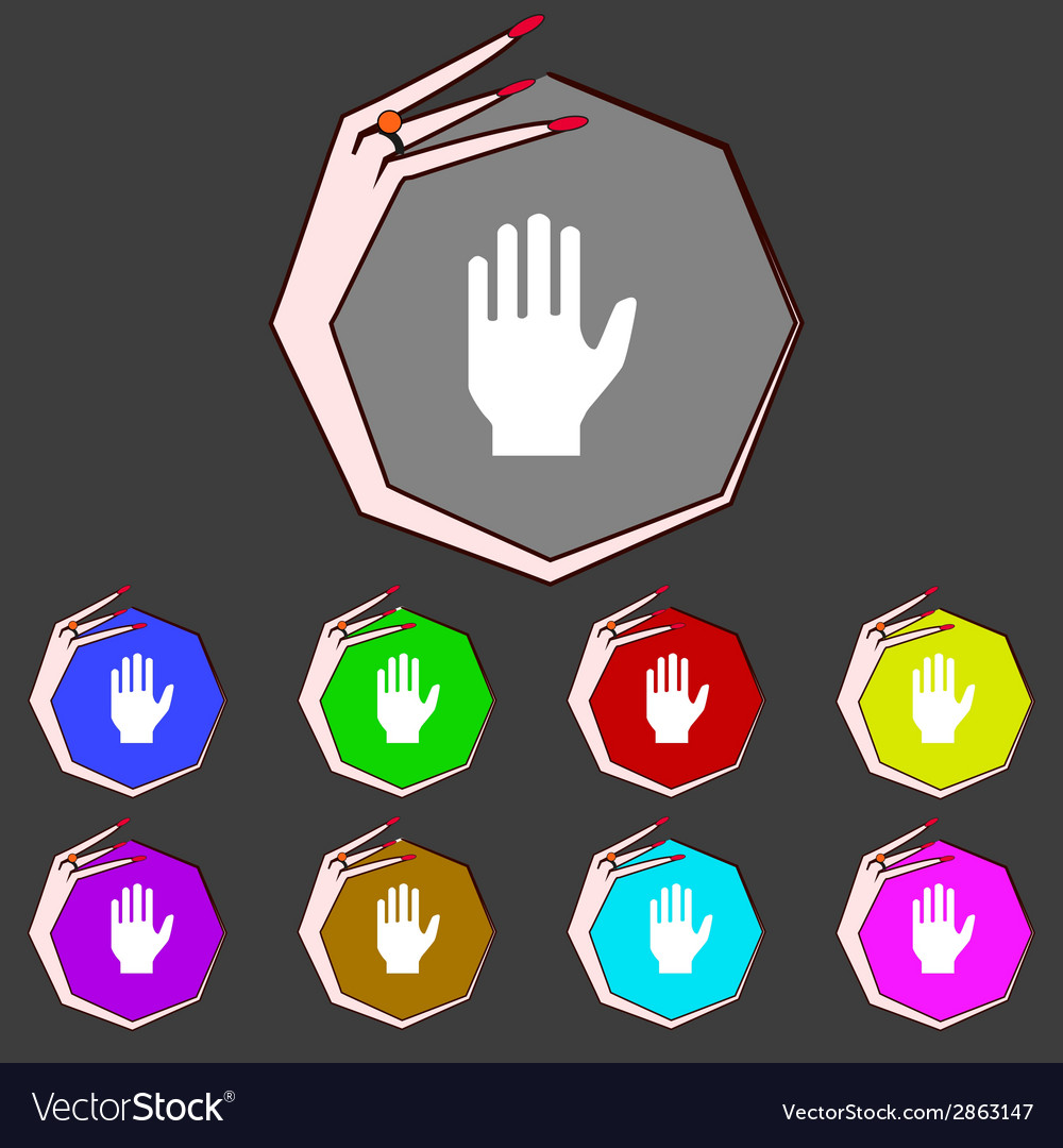 Hand print sign icon stop symbol set colourful vector | Price: 1 Credit (USD $1)