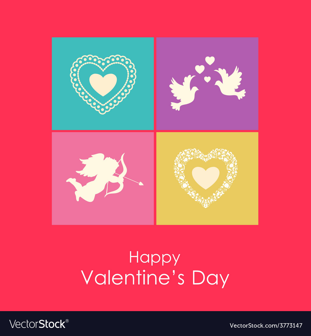 Happy valentines day card with angel doves and vector | Price: 1 Credit (USD $1)