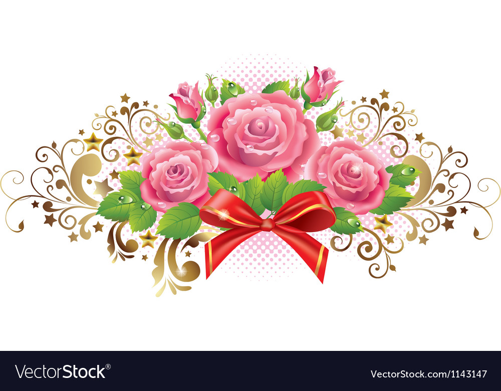 Horizontal vignette of roses and golden curls vector | Price: 1 Credit (USD $1)
