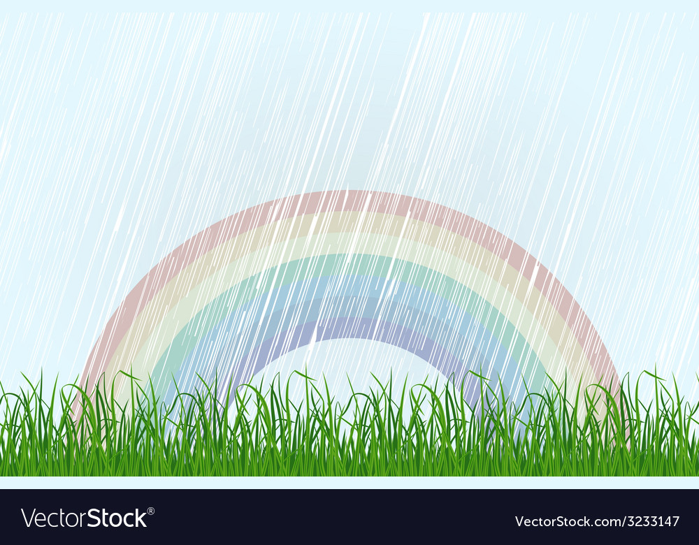 Landscape with grass and rainbow vector | Price: 1 Credit (USD $1)