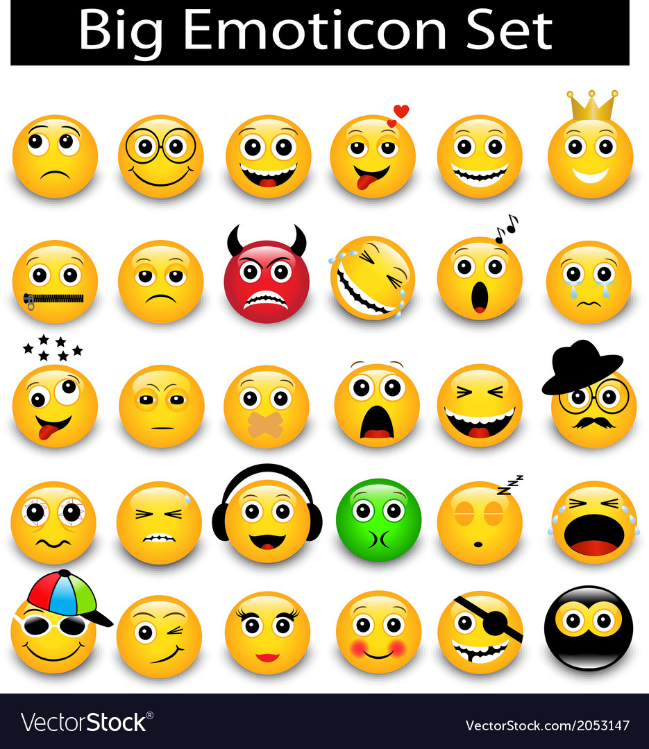 Large set a round yellow emoticons vector | Price: 1 Credit (USD $1)