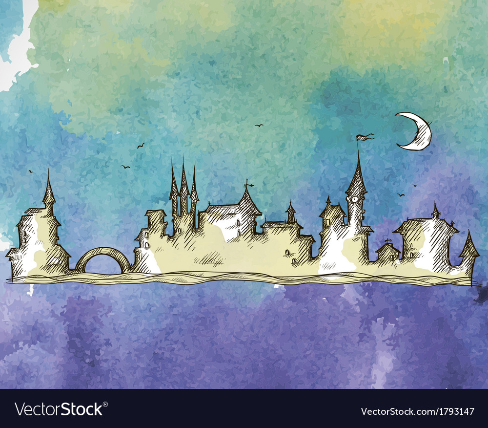 Old city on a watercolor background vector | Price: 1 Credit (USD $1)