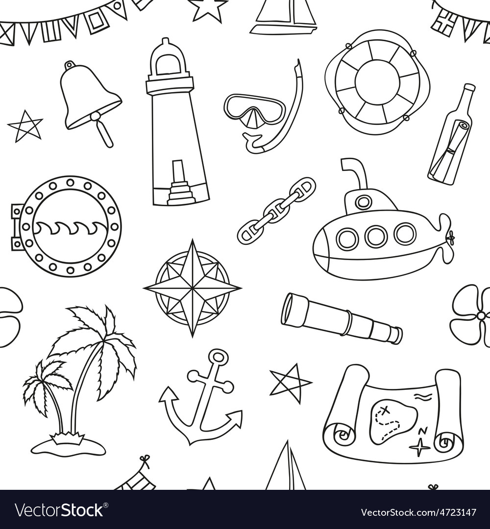 Seamless nautical pattern vector | Price: 1 Credit (USD $1)