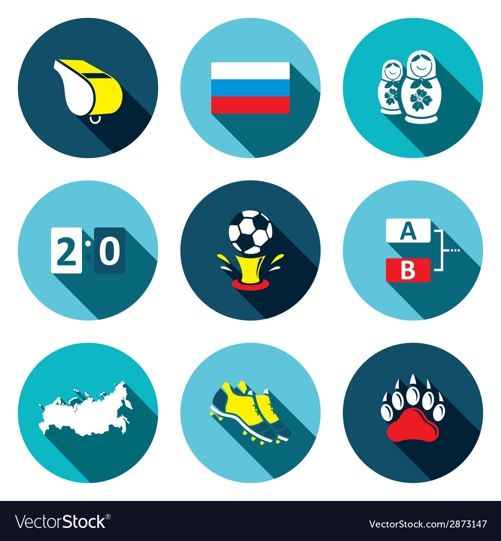 Soccer game flat icons set vector | Price: 1 Credit (USD $1)